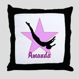 Pink Trampoline Star Throw Pillow