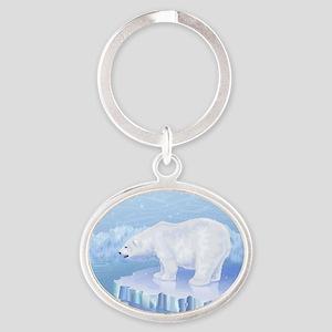 Polar Bear Oval Keychain