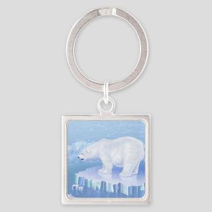 Polar Bear Square Keychain