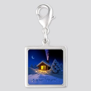 Happy New Year Silver Square Charm