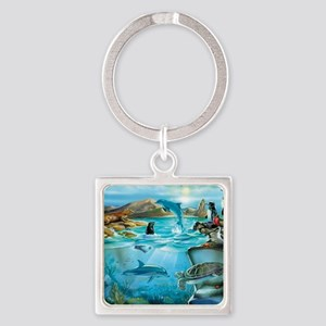 Galapagos Animals Square Keychain