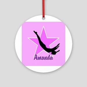 Trampoline Star Gymnast Round Ornament