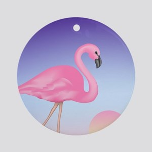 Pink Flamingo Round Ornament