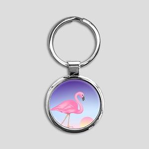 Pink Flamingo Round Keychain