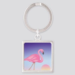 Pink Flamingo Square Keychain