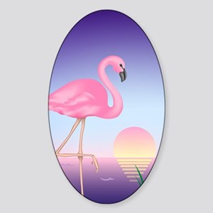 Pink Flamingo Sticker (Oval)