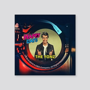 "Happy Days Jukebox Fonz Square Sticker 3"" x 3"""