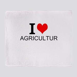 I Love Agriculture Throw Blanket