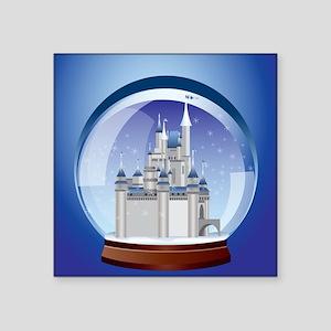 """Castle Snow Globe Square Sticker 3"""" x 3"""""""