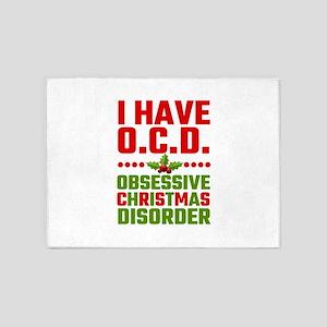 I Have OCD Obsessive Christmas Diso 5'x7'Area Rug