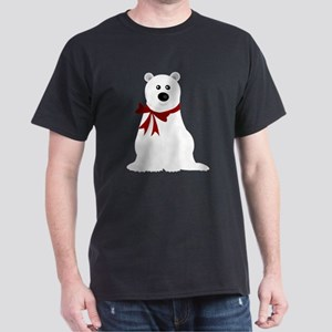 Cute Polar Bear with Red Bow Christma Dark T-Shirt