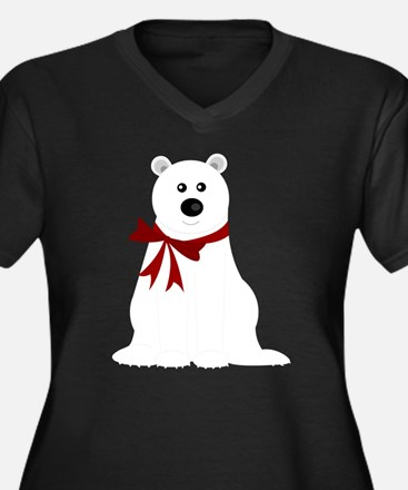 Cute Polar B Women's Plus Size V-Neck Dark T-Shirt