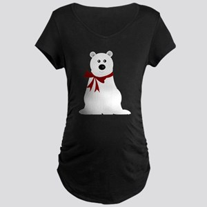 Cute Polar Bear with Red Bo Maternity Dark T-Shirt