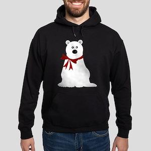 Cute Polar Bear with Red Bow Christm Hoodie (dark)