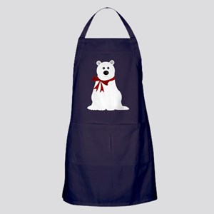 Cute Polar Bear with Red Bow Christma Apron (dark)
