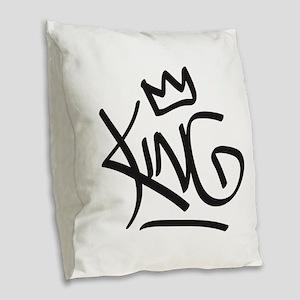King Tag Burlap Throw Pillow