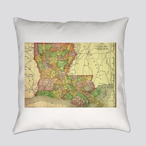 1895 Louisiana Map Everyday Pillow