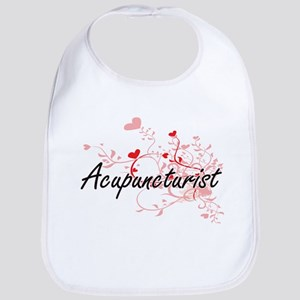 Acupuncturist Artistic Job Design with Hearts Bib