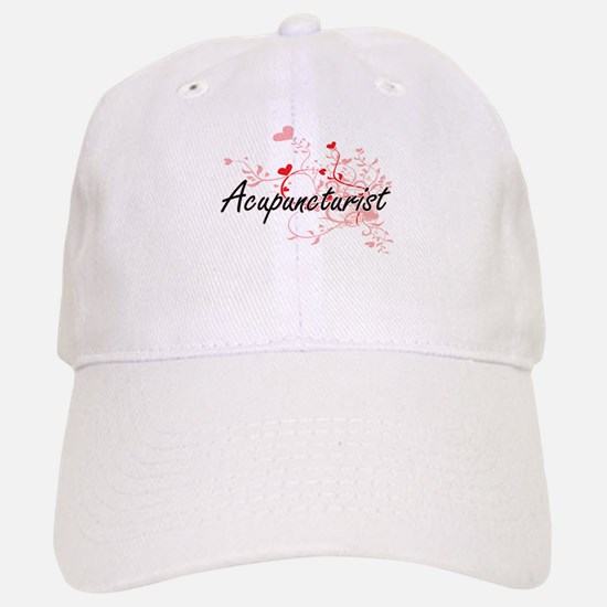 Acupuncturist Artistic Job Design with Hearts Baseball Baseball Cap