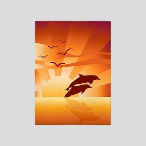 Dolphin Sunset 5'x7'Area Rug
