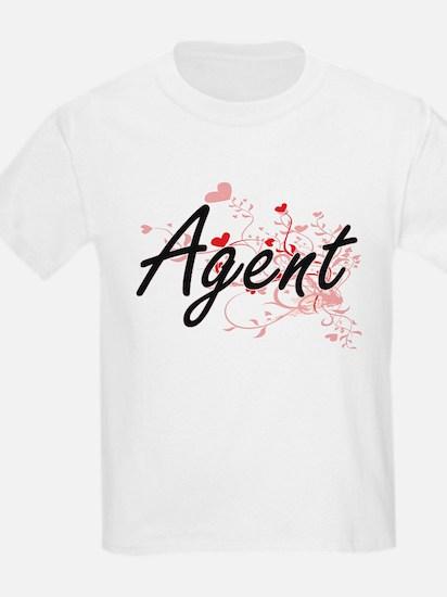 Agent Artistic Job Design with Hearts T-Shirt