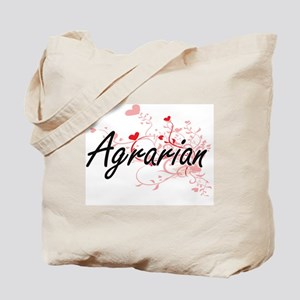 Agrarian Artistic Job Design with Hearts Tote Bag