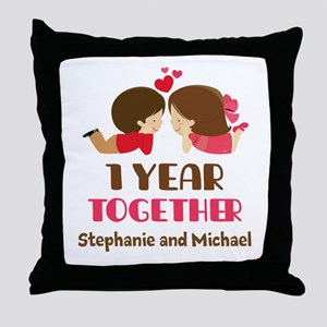 1st Anniversary Personalized 1 year Throw Pillow