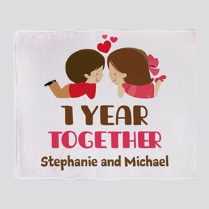 1st Anniversary Personalized 1 year Throw Blanket