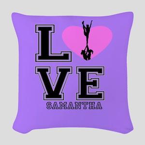 Purple Cheerleader Woven Throw Pillow
