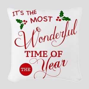 Wonderful Time of the Year Woven Throw Pillow
