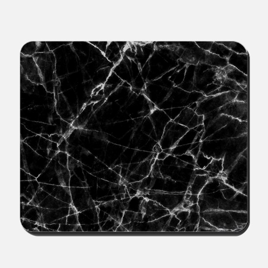 Black marble stone gray accents Mousepad