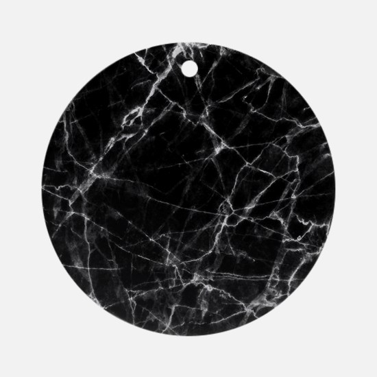Black marble stone gray accents Round Ornament