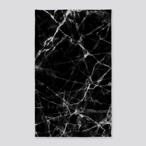 Black marble stone gray accents Area Rug