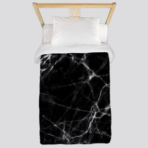 Black marble stone gray accents Twin Duvet