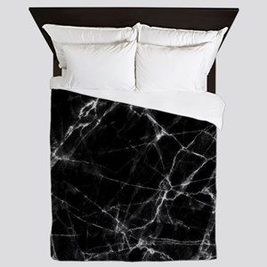 Black marble stone gray accents Queen Duvet