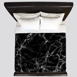 Black marble stone gray accents King Duvet