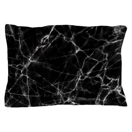 Black marble stone gray accents Pillow Case