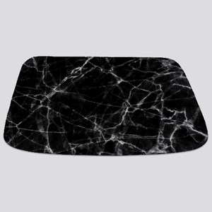 Black marble stone gray accents Bathmat