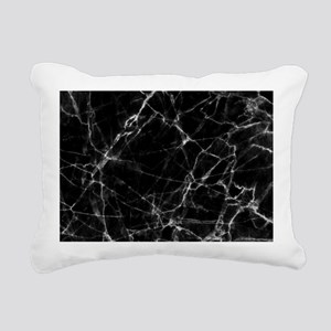 Black marble stone gray Rectangular Canvas Pillow