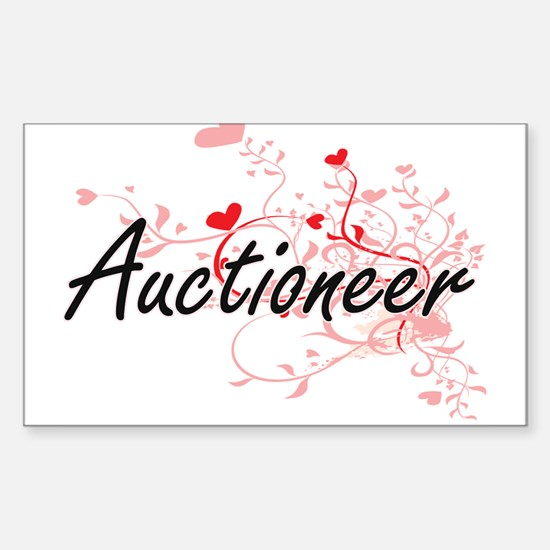 Auctioneer Artistic Job Design with Hearts Decal