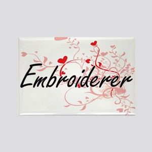 Embroiderer Artistic Job Design with Heart Magnets
