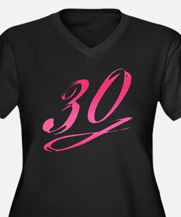 Cool 30th birthday for her Women's Plus Size V-Neck Dark T-Shirt