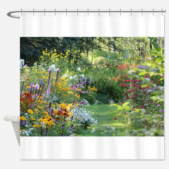 Three Gardens Meet Shower Curtain
