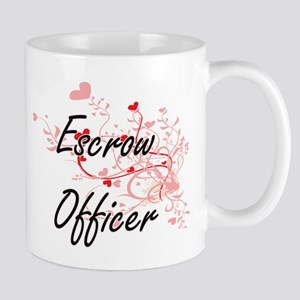 Escrow Officer Artistic Job Design with Heart Mugs