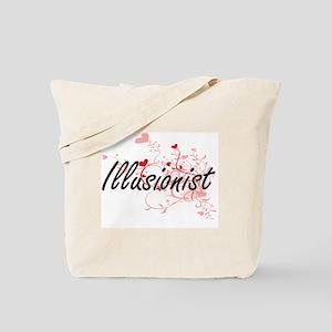 Illusionist Artistic Job Design with Hear Tote Bag