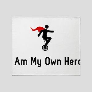 Unicycling Hero Throw Blanket
