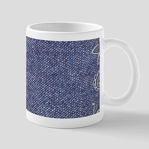 swirls western country blue denim Mugs