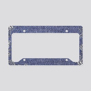 swirls western country blue d License Plate Holder