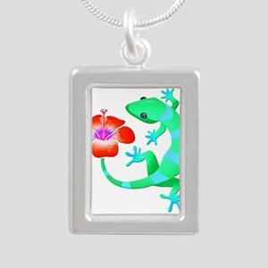 Blue and Green Jungle Lizard with Orange Necklaces