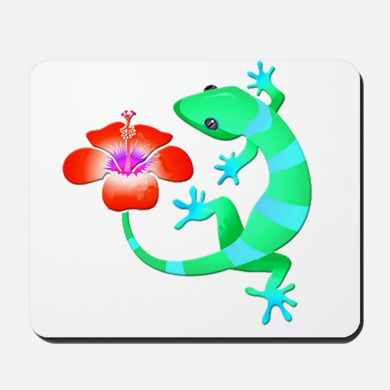 Blue and Green Jungle Lizard with Orange Mousepad